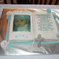Christening Open Book Bible Cake My son's baptism cake. First time doing an open book cake. Wasn't too difficult.