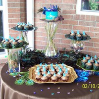 Peacock Theme Cake And Cupcakes