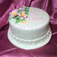 Australian Style With Clematis  Extension stringwork with embroidery and gumpaste clematis flower spray. This was such a fun cake to do because I never get to do any girly...