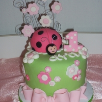 "Baby Ladybug Small 6"" cake done for a 1st. Combo'd a few of my other Ladybug cakes to design a new version. Really liked how cute it turned..."