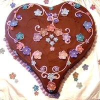 Valentine Heart Chocolate Cake with chocolate buttercream and fondant flowers.