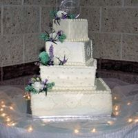 "Twisted Square  My son and His bride's cake, I made for them. 14"" 10"" 7"" and 41/2"" squaresplaced askew till the top layer was 1&#..."
