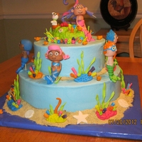 Bubble Guppies  This was not the finished cake. For some reason I did'nt get any pics of the finished cake. I did remove the wires before I delivered...