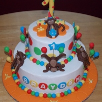 Playful Monkeys 1st birthday cake for my great nephew. All B/C with all fondat accents