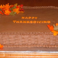 Fall Leaves Yellow Butter Cake Covered In Chocolate B/C. Leaves Are Fondant And hand Painted.