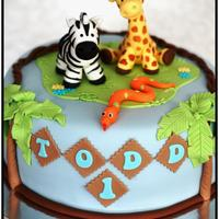 Jungle Cake Jungle cake, zebra and giraffe.
