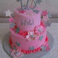 "Pink Popstar Birthday 9/6"" covered in Whimsical Buttercream. All decorations are fondant. Got the idea of painting the flowers with stripes and dots from a..."