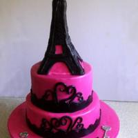 Eiffel Tower A 21st cake for my cousin. She saw a picture of a cake she liked and asked me to put an Eiffel tower on top.