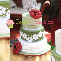Green Theme Wedding Cake   simple wedding cake with big red flower