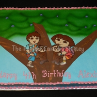 Dora And Diego Sheet Cake Based On The Invitation Iced In Buttercream Airbrushed Leaves Fondant Tree Trunk Chocolate Transfer Figures Dora and Diego sheet cake, based on the invitation. Iced in buttercream, airbrushed leaves, fondant tree trunk, chocolate transfer figures...