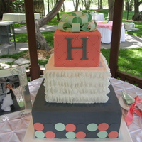 "Ambers Cake Colors, mint, coral, white and charcoal. 12""x5"", 8""x5"" 6""x5"". White cake with salted caramel buttercream, red..."