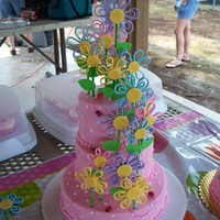 "Breezy Blossoms Birthday Based on Wilton ""Breezy Blossoms"" design. Iced in buttercream. Flowers and ladybugs are gumpaste/fondant combo."