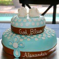 Baptism Cake   Can't believe I made the shoes!! MMF and then airbrushed! Shoes are fondant!