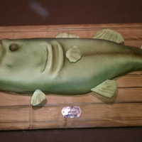 Mounted Fish Cake Board covered in fondant. Fish is chocolate cake covered in fondant. Took class from Debbie Goard a few months ago, and had no trouble...