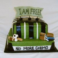 No More Chemo! I made this cake for a boy who just finished up chemo for a brain tumor!. He is so excited to be free of the treatments and back to normal...