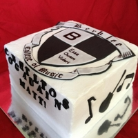 "Berklee Bound 8"" square for HS grad going off to Berklee. All edible. BC with fondant accents and shield."