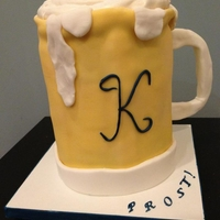 "Prost!!! 3 8"" WASC filled with white and chocolate ganache. Fondant details with meringue foam. TFL!"