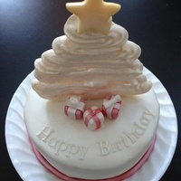 "It Cant Be Easy To Have A Christmas Birthday 6 Cake With Meringue Tree Fondant Star And Presents It can't be easy to have a Christmas birthday...6"" cake with meringue tree. Fondant star and presents"