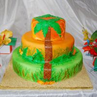 Tropical/jamaican Theme 40Th Bday Cake And Cookie Favors Cake is covered in fondant and sprayed with airbrush. Sun rays, trees, and leaves are all fondant painted with food color. I then painted...