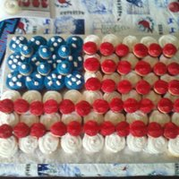American Flag cupcake cake for navy retirement party