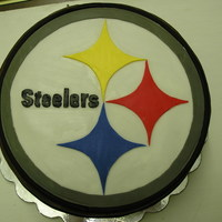 Steelers Groom's Cake Choc. fudge cake w/ whipped choc. ganache buttercream, fondant decoration