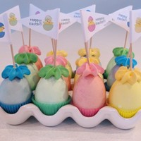"Cake Filled Easter Eggs Cake baked into dyed egg shells. Credit for this idea goes to Stefanie Pollack who describes how to do them on her ""Cupcake Project&..."