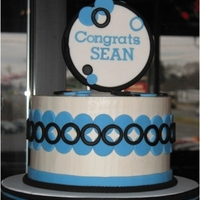 "Blue Black & White Graduation Cake, Cupcakes And Cookies Graduation display for young man using school colors. They wanted to avoid traditional ""graduation"" caps and books etc. Full..."