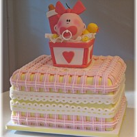 "Baby Shower Cake To Match Invitation Cake made to match shower invitation (third picture). 10"" Vanilla square, with vanilla SMBC filling. White chocolate ganache then..."