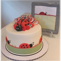 "Ladybug Baby Shower Dessert display for close friend's baby shower. Designed to match Ladybug Parade bed linens. 9"" cake centerpiece is ganache &amp..."