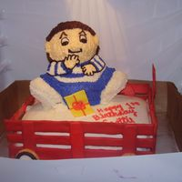 Wagon   Boy is a 3d bear cake covered in BC. The sides of the wagon arecolor flow (first time).