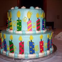 Candle Party Cake covered in BC, Candles made from rolled fondant.