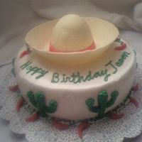 Sombrero Cake   Sombrero brim and hat are covered with rolled fondant. Cake is covered with BC.