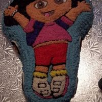 Dora The Explorer All frosted with piped BC frosting.