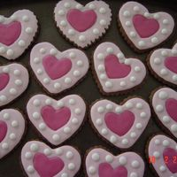 Heart Cookies Chocolate cookies with royal icing.