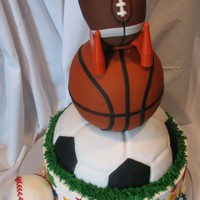 Sports Cakes  Base cake done in buttercream with fondant accents. Soccer ball done in fondant. Basketball done in pound cake and covered in fondant....