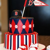 "Boston Red Socks Baby Shower  This cake was done for a baby shower with a Boston Red Socks theme because the baby was going to be named ""Boston."" Cake done in..."