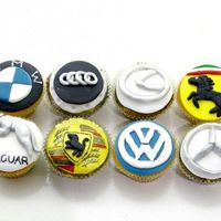 Car Logo Cupcakes Made these for a friend who loves luxuary cars!