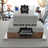 60Th Birthday, Burlap And Chalkboard Theme decorations made of fondant, burlap made of Sugar veil