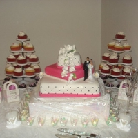 Pink Wedding A combination of yellow, red velvet and chocolate cakes covered in fondant icing.