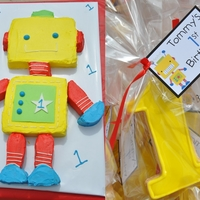Tommy's Robot Sweets Robot Cake & Cookies for a 1st Birthday Party
