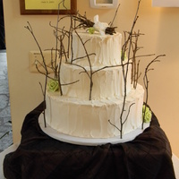 Twig Wedding Cake Real twigs with green sugar roses on italian buttercream