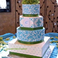 Elegant Turquoise And White Wedding Cake