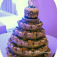 Black And White Damask Cupcake Wedding