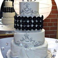 Elegant Black, White And Silver Wedding Cake