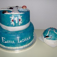 1St Birthday for this cake i , they like that i make there birth card from edria , i realy love the card , i brushed the cake with blue color and dusted...
