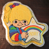 Rainbow Brite Cake Made from the 1980's Wilton pan. Decorated with buttercream stars.