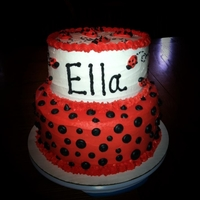 "Ladybug Cake Ladybug cake, buttercream frosting. 10"" bottom layer, 8"" top layer"