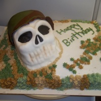 Skull this is for my sons 10th bday. The skull is a loaf pan with a small bowl cake on top. I used extra peices i cut away to help with the shape...