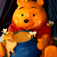 Pooh Bear! Giant Winnie the Pooh Cake with honey pot and bees. Cake was created to serve 60, head was crispy treats, body and honey pot were cake....