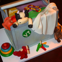 Toy Chest Cake was created for a baby shower. The parents-to-be were represented by various design details. Modeling chocolate was used for the...